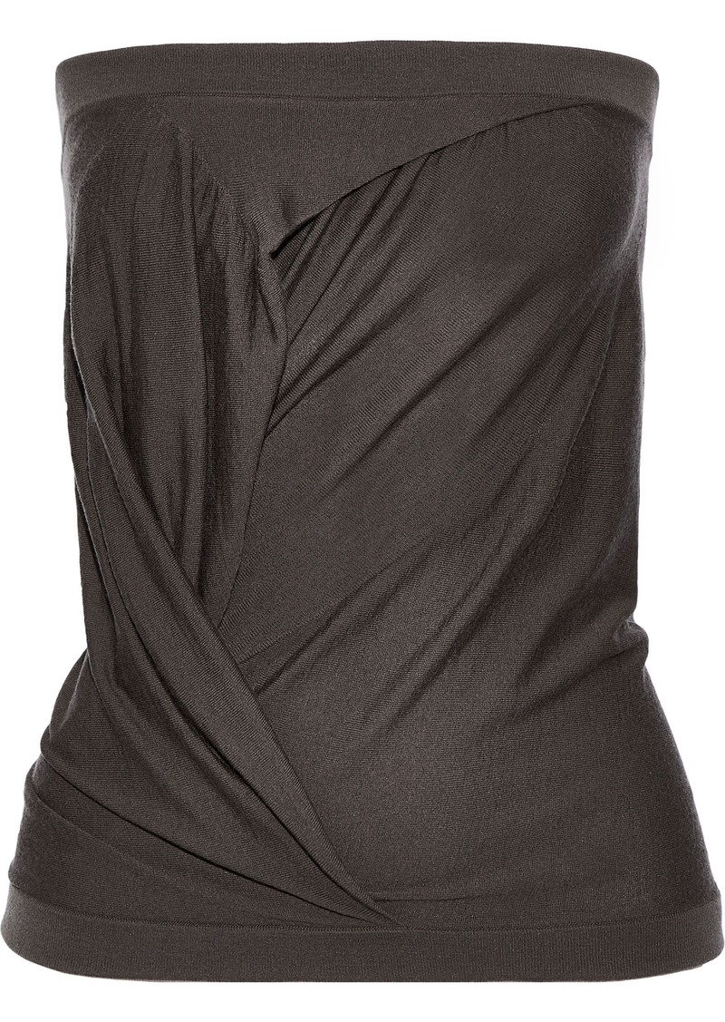 Rick Owens Woman Strapless Gathered Cashmere-blend Top Gray