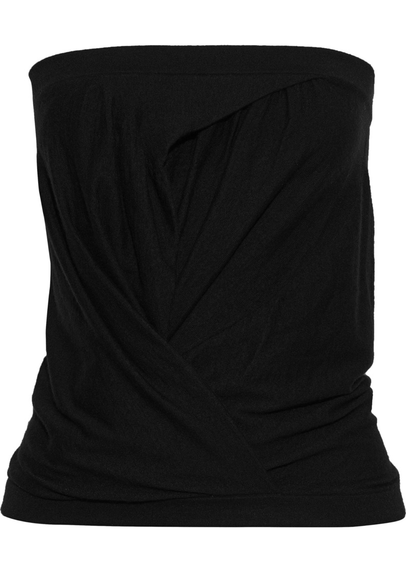 Rick Owens Woman Strapless Gathered Cashmere-blend Top Black