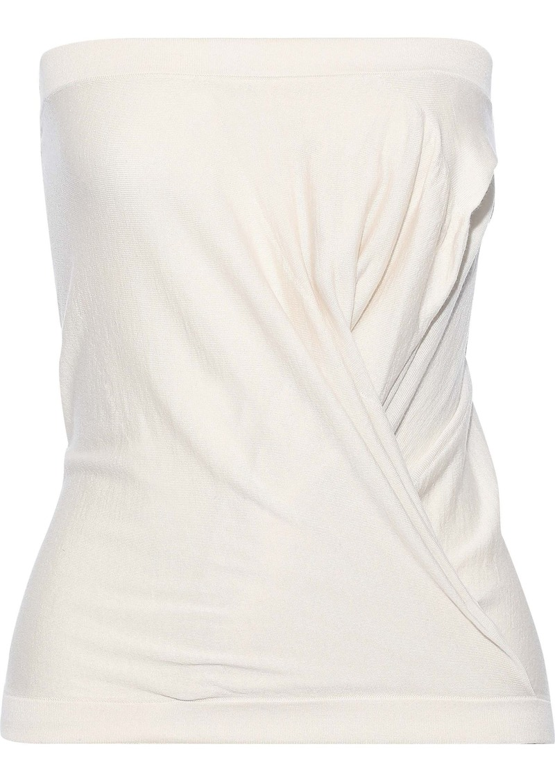 Rick Owens Woman Strapless Gathered Cashmere-blend Top Ivory