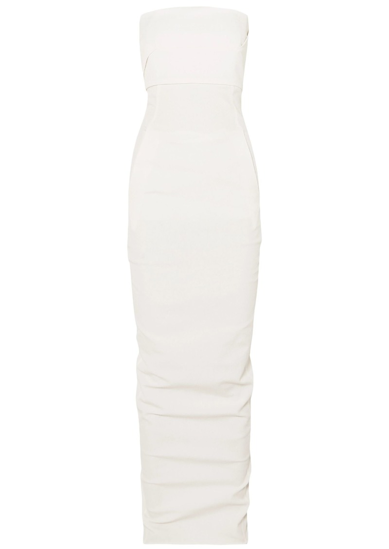 Rick Owens Woman Strapless Ruched Cotton-blend Cloqué Gown Ivory