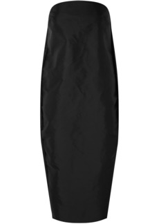 Rick Owens Woman Strapless Coated Shell Midi Dress Black