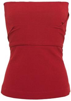 Rick Owens Woman Strapless Textured Cotton-blend Top Claret