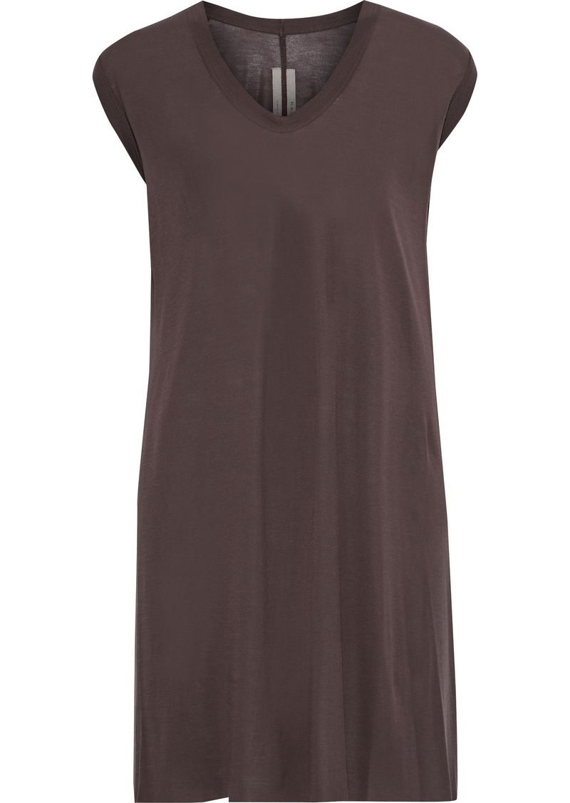 Rick Owens Woman Stretch-jersey Tank Chocolate
