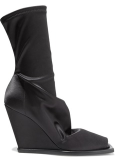 Rick Owens Woman Stretch-satin Wedge Sock Boots Black