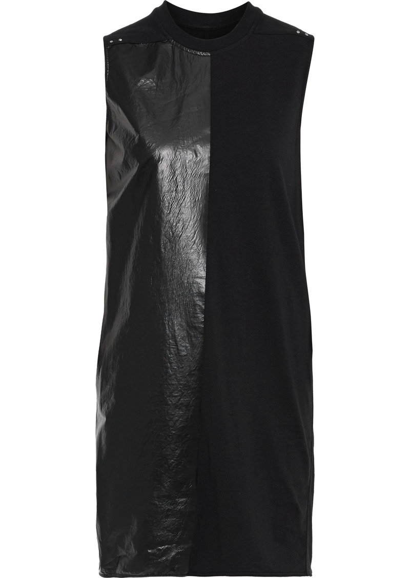 Rick Owens Woman Paneled Coated Cotton-jersey Tunic Black