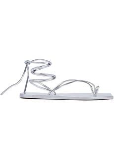 Rick Owens Woman Tangle Ii Metallic Leather Sandals Silver