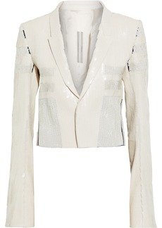 Rick Owens Woman Tecuatl Cropped Sequined Cotton Jacket Ivory