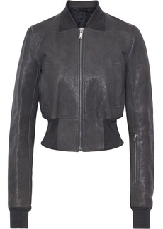 Rick Owens Woman Textured-leather Bomber Jacket Anthracite