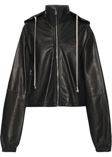 Rick Owens Woman Textured-leather Hooded Jacket Black