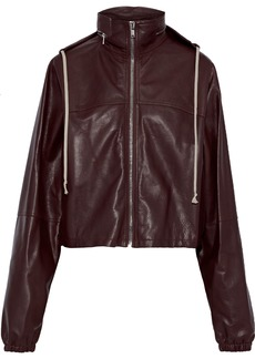 Rick Owens Woman Textured-leather Hooded Jacket Chocolate