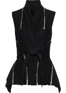 Rick Owens Woman Tie-front Chain-trimmed Jersey Peplum Vest Black