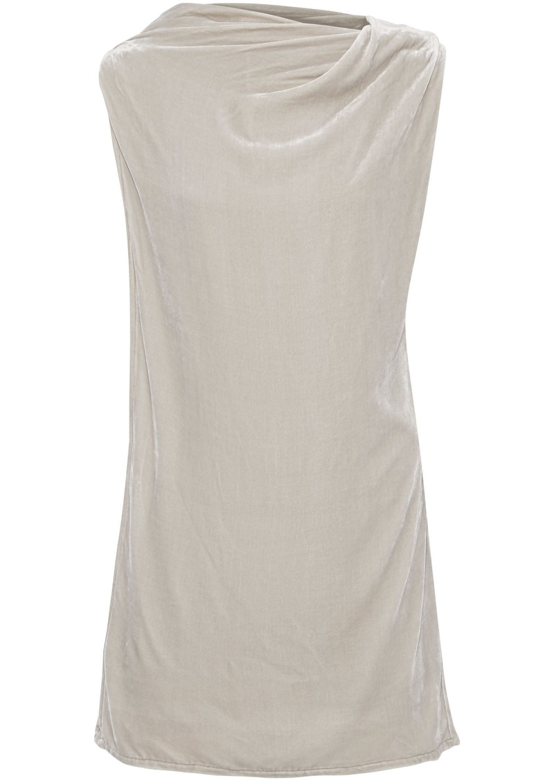 Rick Owens Woman Toga Layered Draped Velvet Tunic Ecru