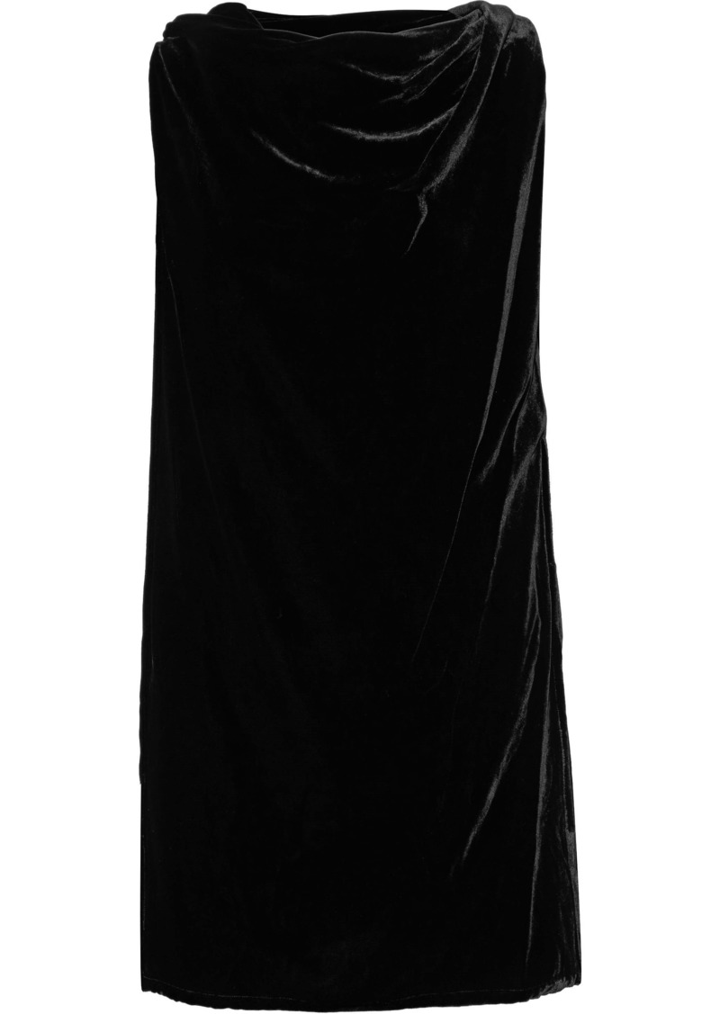 Rick Owens Woman Toga Layered Draped Velvet Tunic Black