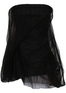 Rick Owens Woman Twist Strapless Gathered Plissé-tulle Top Black