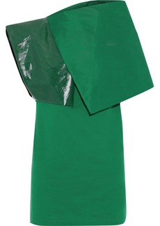 Rick Owens Woman Uranian Shell Coated-twill And Cotton-jersey Top Green