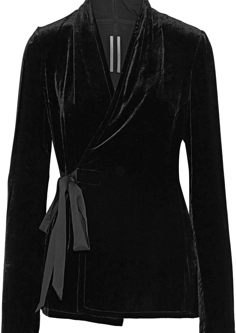 Rick Owens Woman Velvet Wrap Top Black