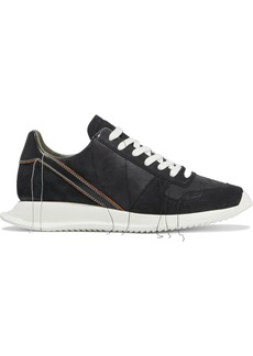 Rick Owens Woman Vintage Runner Frayed Leather Nubuck And Suede Sneakers Black