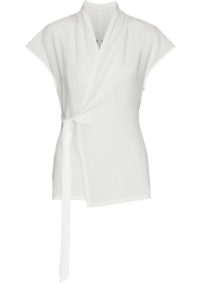Rick Owens Woman Wool And Silk-blend Wrap Top Off-white