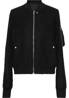 Rick Owens Woman Wool-felt Bomber Jacket Black