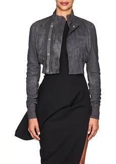 Rick Owens Women's Egon Blistered Leather Crop Bomber Jacket