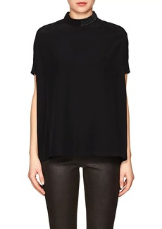 Rick Owens Women's Island Embroidered Silk Crepe Top