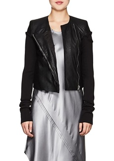 Rick Owens Women's Knit-Sleeve Blistered-Leather Jacket