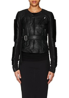 Rick Owens Women's Mink-Fur-Trimmed Blistered Leather Biker Jacket
