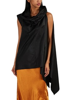 Rick Owens Women's Side-Draped Leather Top