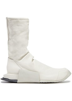 Rick Owens X Adidas Woman Level High Runner Stretch-leather High-top Sneakers White