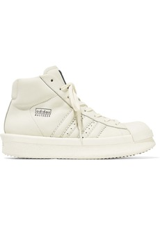 Rick Owens X Adidas Woman Rubber-paneled Leather High-top Sneakers Off-white