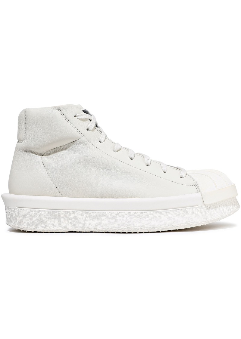 Rick Owens X Adidas Woman Rubber-paneled Leather Sneakers Off-white