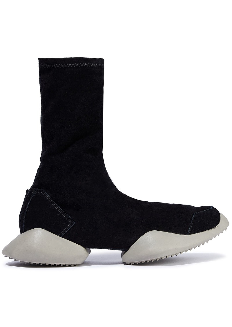 Rick Owens X Adidas Woman Stretch-suede High-top Sneakers Black