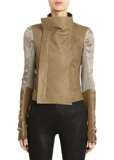 Rick Owens Satin & Leather Combo Biker Jacket