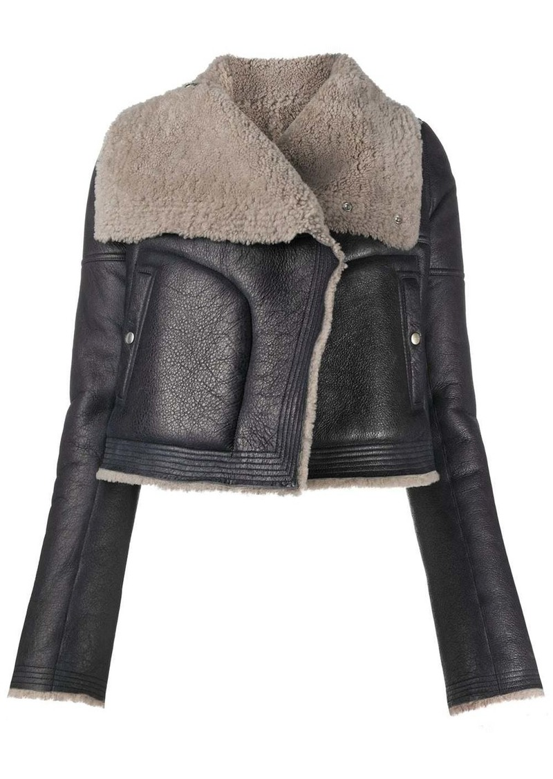 Rick Owens shearling trimmed leather jacket