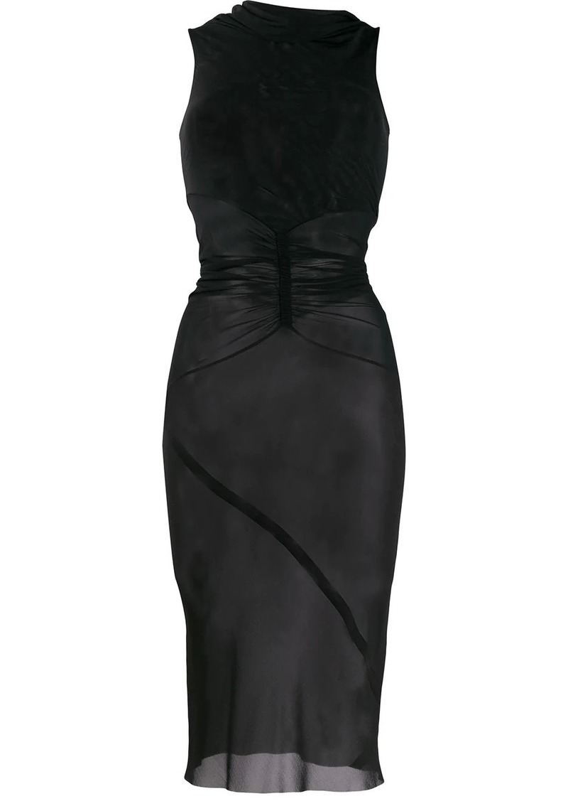 Rick Owens sheer cowl neck dress