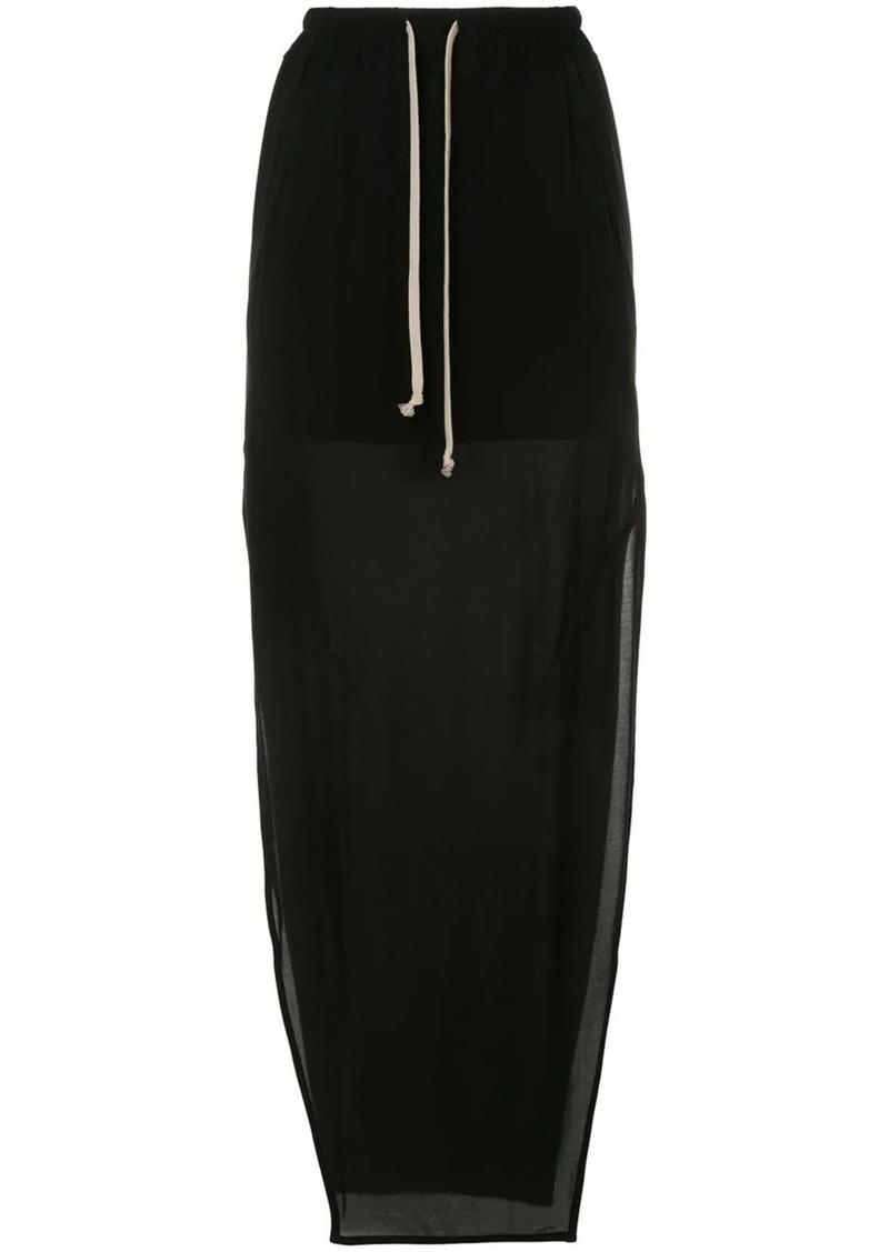 Rick Owens side-slit drawstring maxi skirt