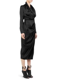 Rick Owens Silk Crepe Wrap Dress