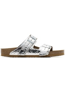 Rick Owens silver metallic X Birkenstock arizona sandals