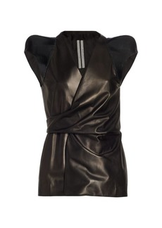Rick Owens Sleeveless Leather Wrap Jacket