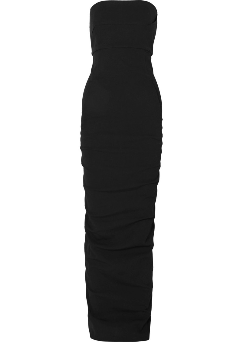 Rick Owens Strapless Cotton-blend Crepe Maxi Dress