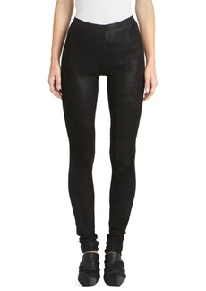 Rick Owens Stretch Lamb Leather & Cotton Leggings