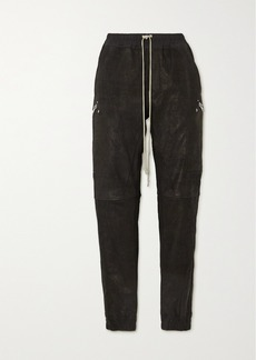 Rick Owens Stretch-leather And Cotton-blend Track Pants