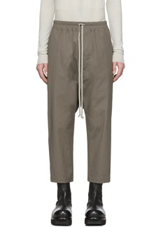 Rick Owens Taupe Drawstring Cropped Trousers