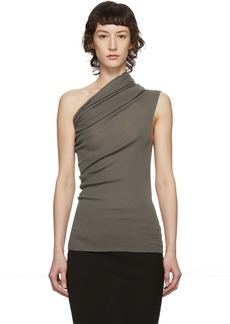 Rick Owens Taupe One Shoulder Tank Top