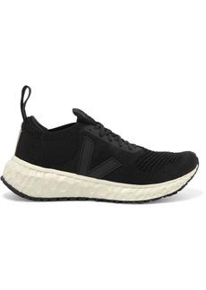 Rick Owens Veja Vegan-leather Trimmed V-knit Sneakers