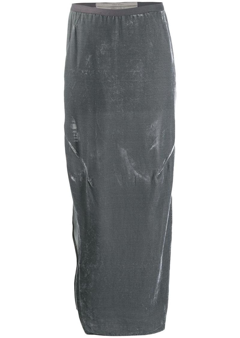 Rick Owens velvet straight skirt