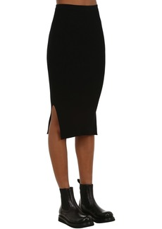 Rick Owens Viscose Rib Knit Pencil Skirt