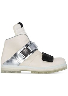 Rick Owens white and metallic silver rotterhiker leather boots