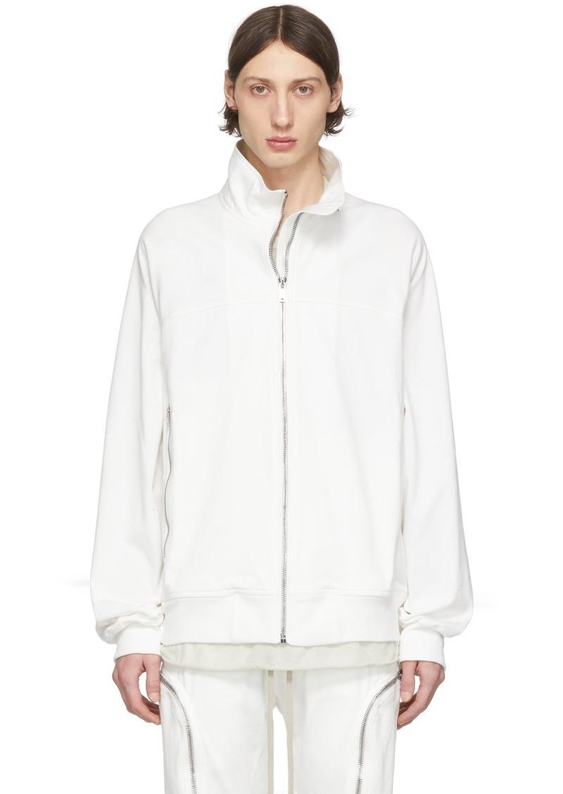 Rick Owens White Zipfront Jogger Sweater