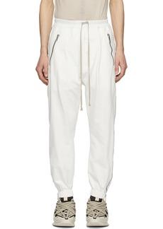 Rick Owens White Zippered Sweatpants